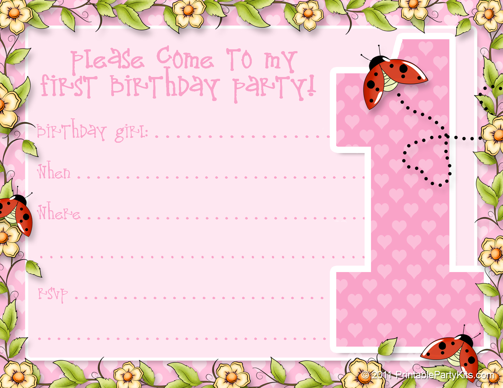 printable 1st birthday party announcements