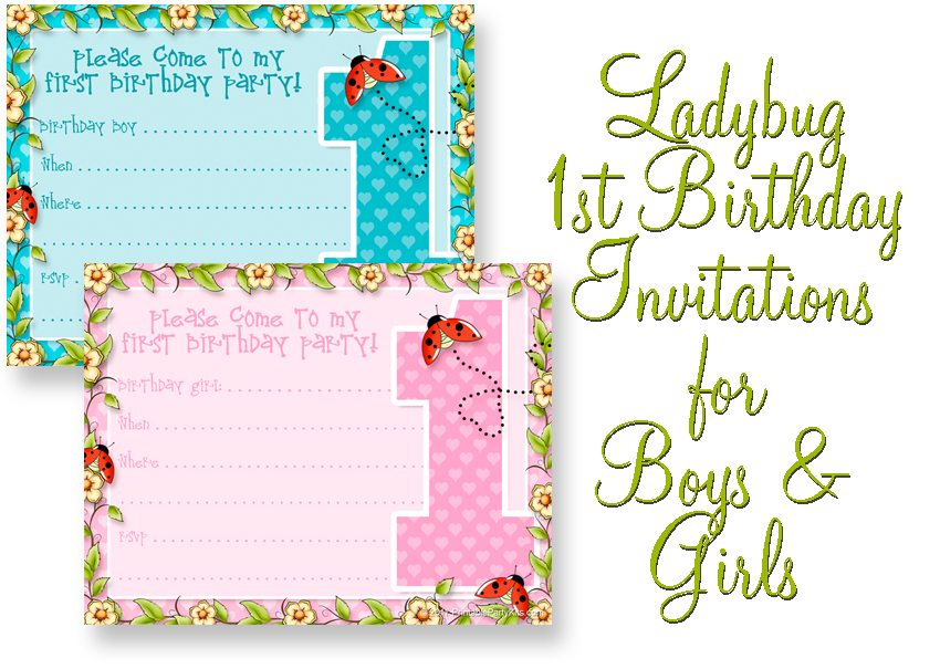 Printable 1st Birthday Party Announcements - Printable Party Kits