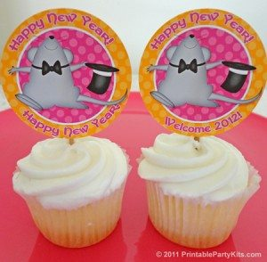 New Years Eve party cupcake topper decorations