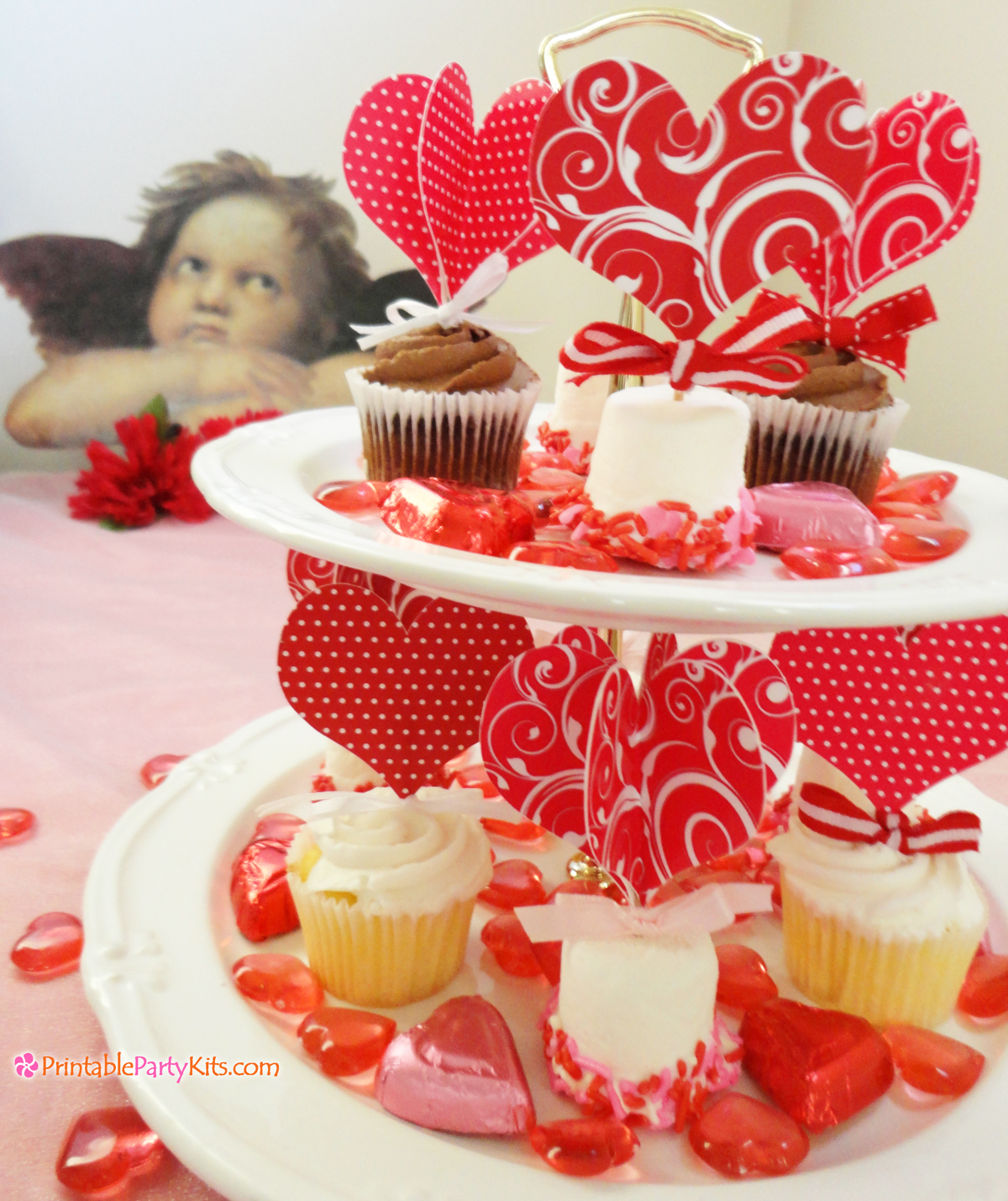 Printable heart cupcake toppers