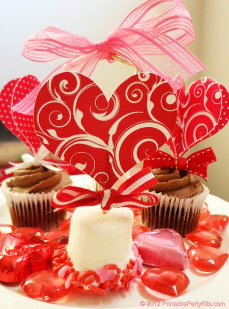 Valentine's Day cupcake picks toppers