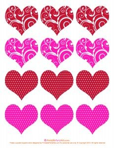 Valentine cupcake picks toppers template