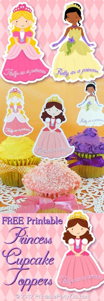 Three designs of princess cupcake toppers