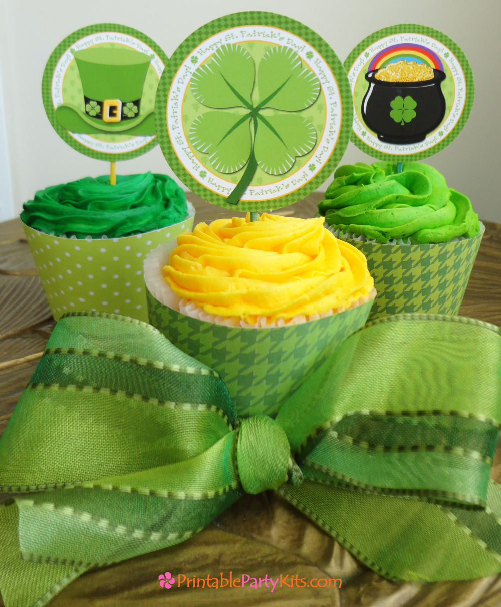 St. Patrick's Day cupcake topper template